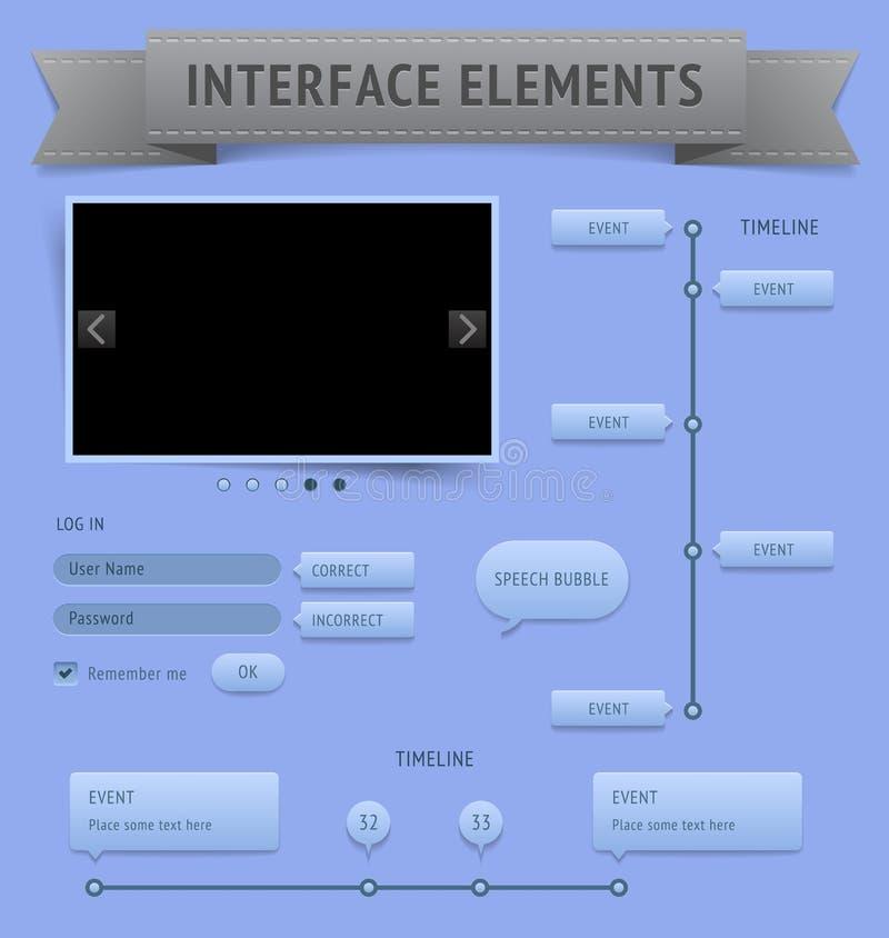 Elementos de la interfaz de usuario ilustración del vector