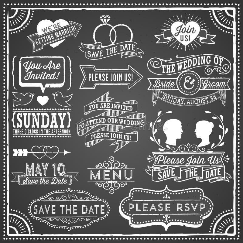 Elementos de la invitación de la boda de la pizarra libre illustration