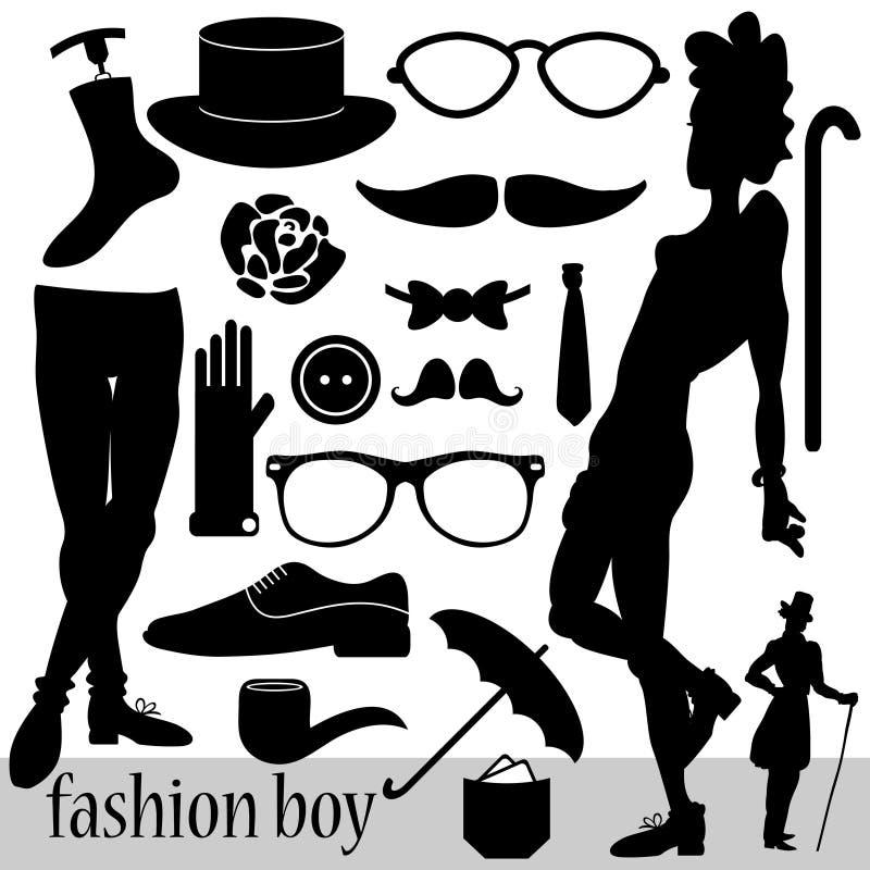 Elementos de la moda para los muchachos stock de ilustración