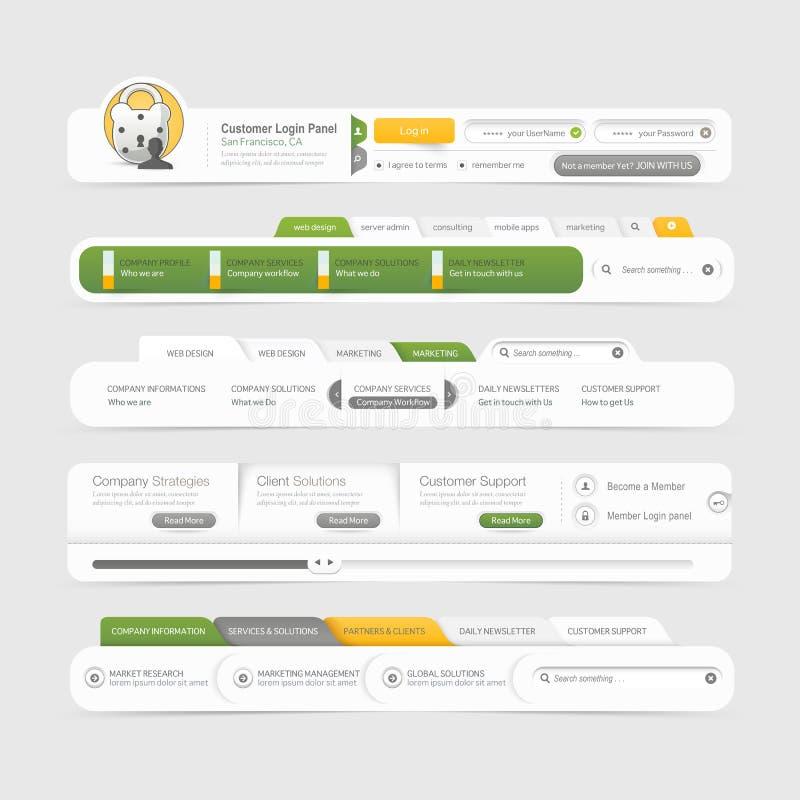 Elementos de la navegación del menú del diseño de la plantilla del sitio web con los iconos fijados. ilustración del vector