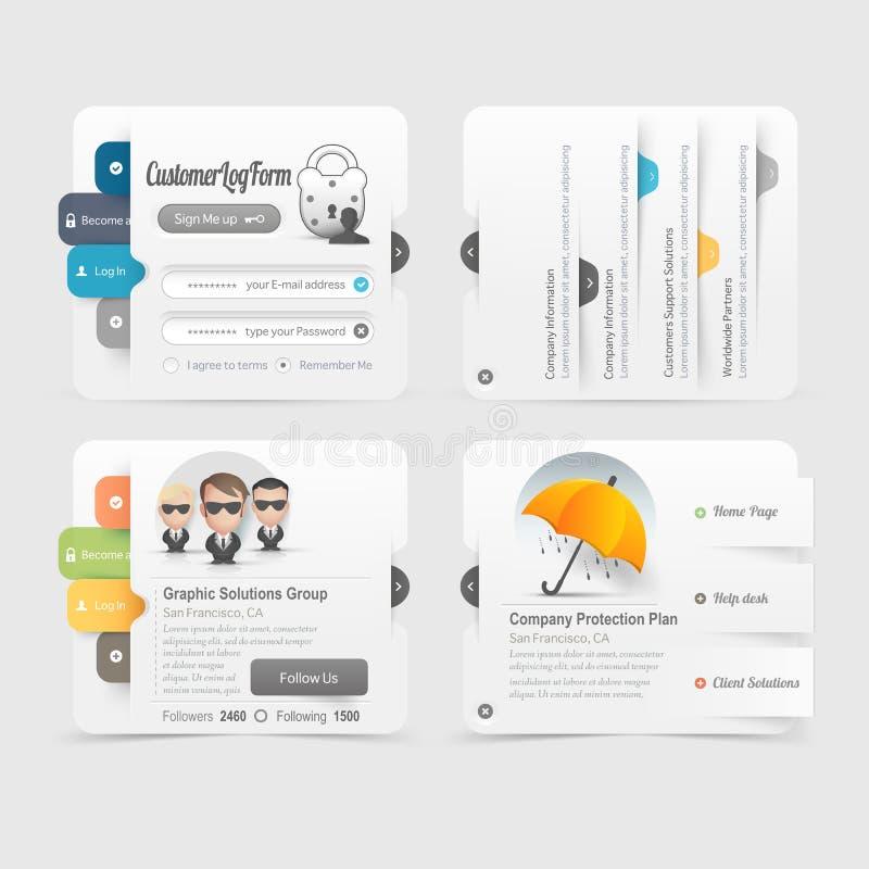 Elementos de la navegación del menú del diseño de la plantilla del sitio web del negocio con los iconos fijados libre illustration
