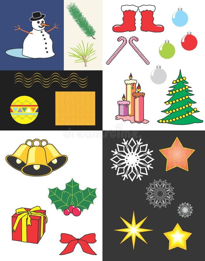 Elementos de la Navidad ilustración del vector