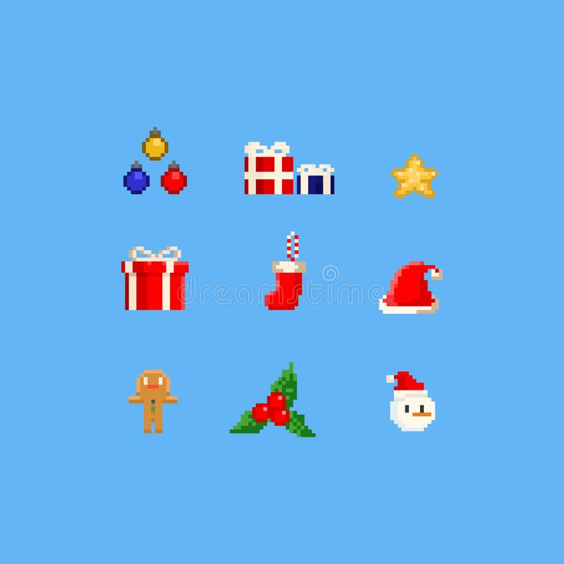 Elementos de la Navidad del pixel ejemplo del vector 8bit ilustración del vector