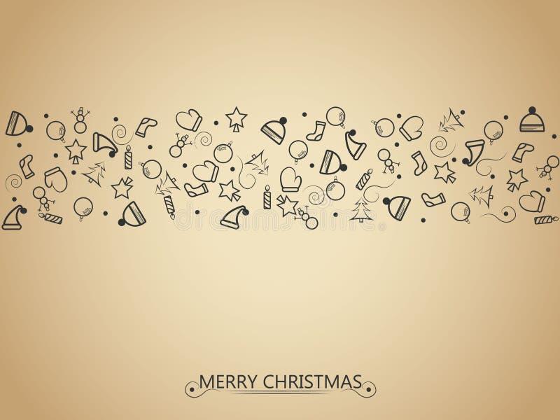 Elementos de la Navidad en el fondo del oro para envolver, la tarjeta de la invitación u otras banderas Ilustración EPS 10 del ve ilustración del vector
