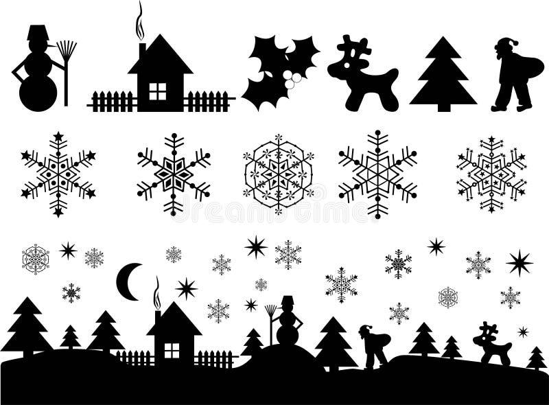 Elementos de la Navidad para el diseño ilustración del vector