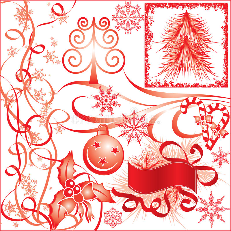 Elementos de la Navidad para el diseño, vector stock de ilustración