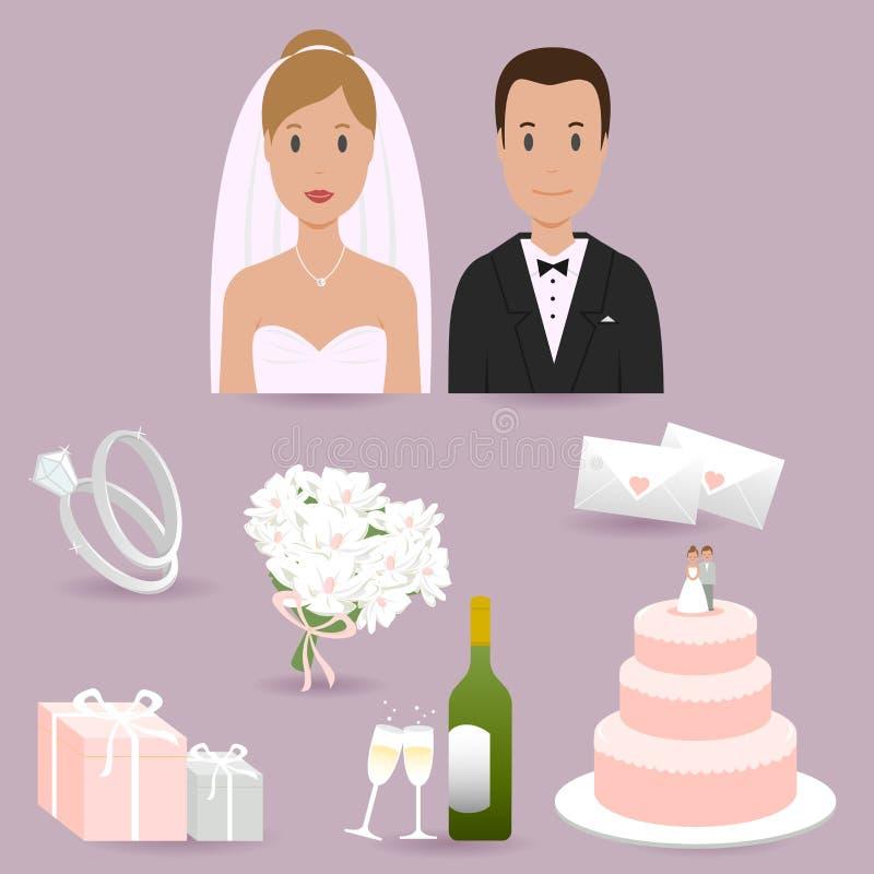 Elementos de la novia, del novio y de la boda libre illustration