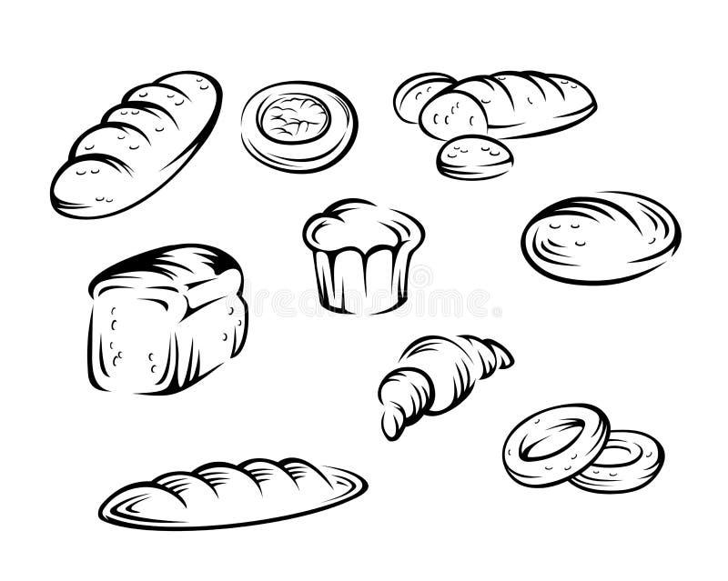 Elementos de la panadería ilustración del vector