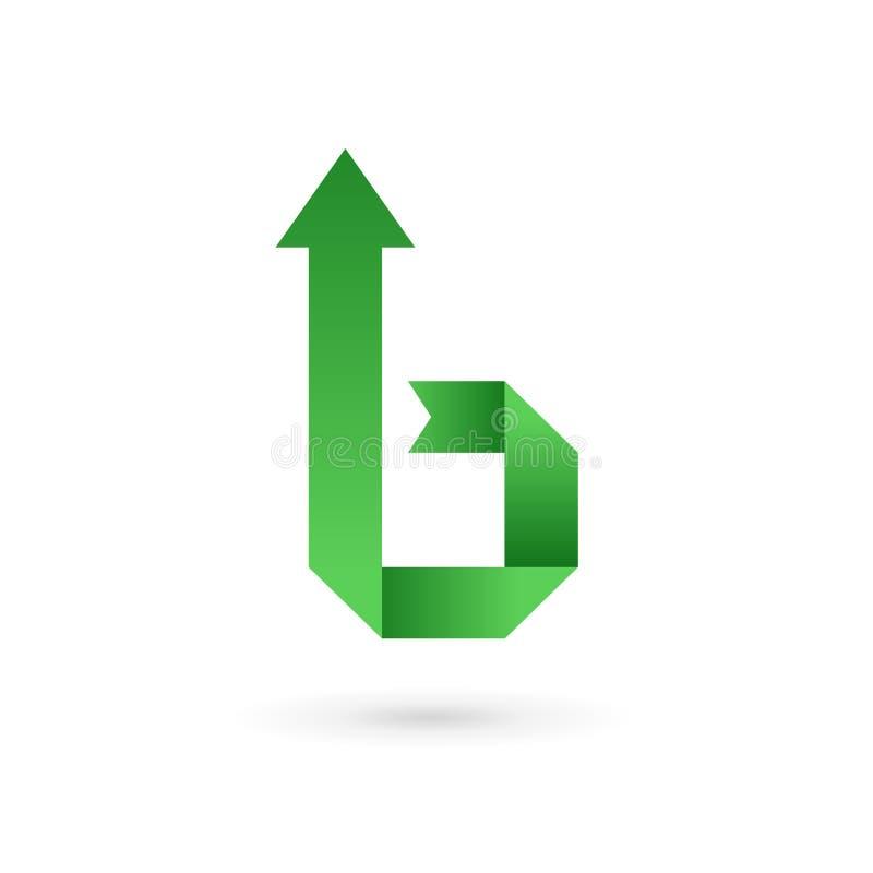 Elementos de la plantilla del diseño del icono del logotipo de la flecha de la letra B stock de ilustración