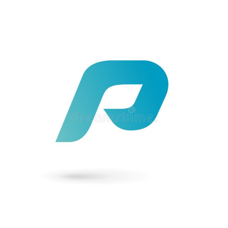 Elementos de la plantilla del diseño del icono del logotipo de la letra P stock de ilustración
