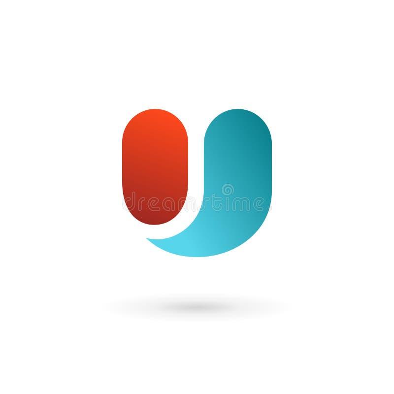 Elementos de la plantilla del diseño del icono del logotipo de la letra U stock de ilustración