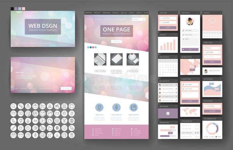 Elementos de la plantilla y del interfaz del diseño del sitio web stock de ilustración