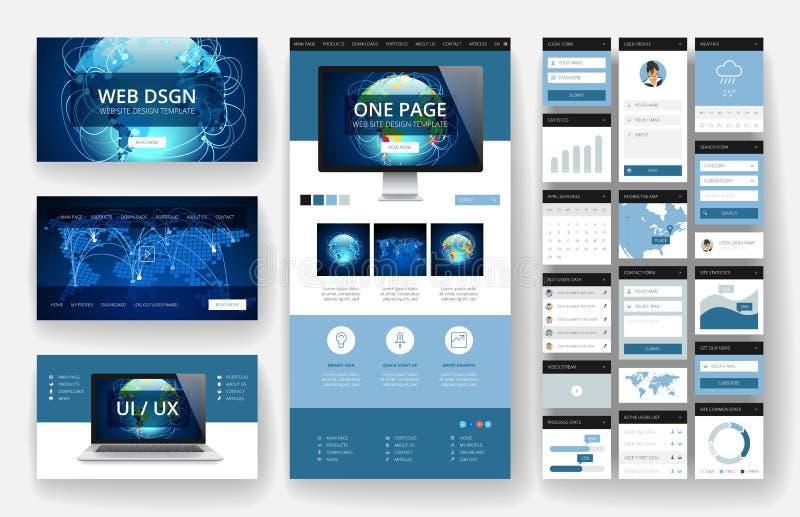 Elementos de la plantilla y del interfaz del diseño del sitio web ilustración del vector
