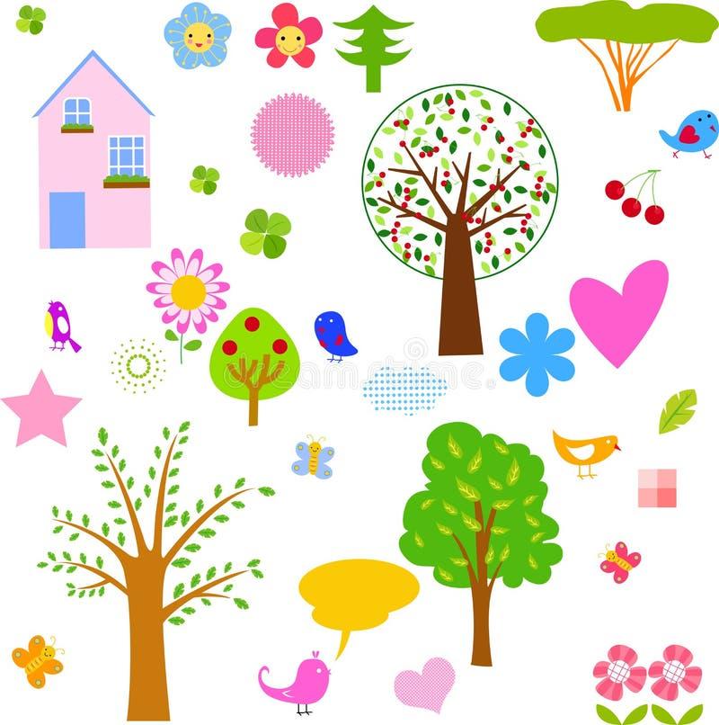 Elementos de la primavera stock de ilustración
