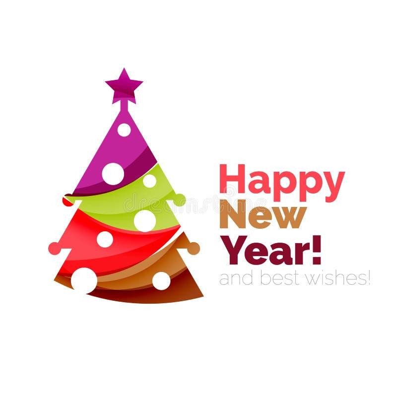 Elementos de la tarjeta de felicitación del día de fiesta de la Feliz Año Nuevo y de Chrismas stock de ilustración