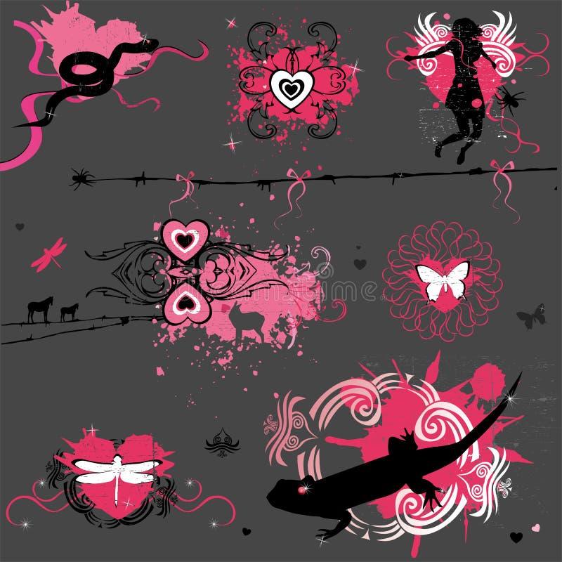 Elementos de la tarjeta del día de San Valentín de Grunge ilustración del vector