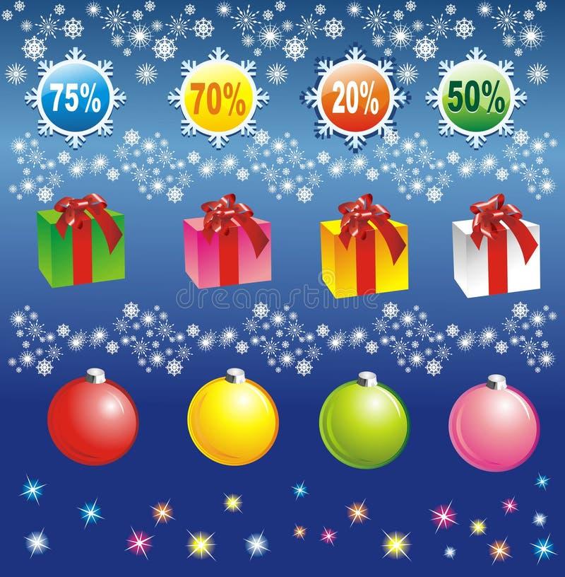 Elementos de la venta de la Navidad foto de archivo