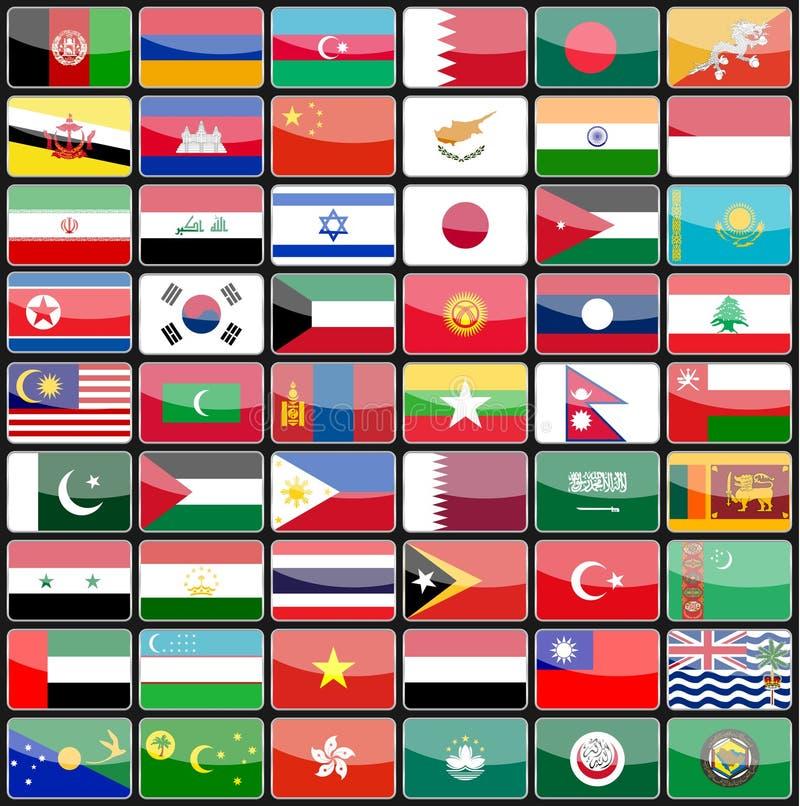 Elementos de las banderas de los iconos del diseño de los países de Asia ilustración del vector