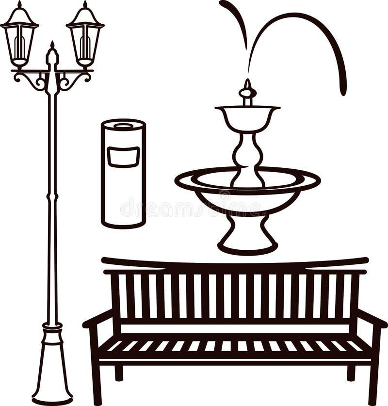 Elementos de las configuraciones del parque stock de ilustración