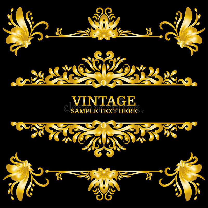 Elementos de las decoraciones del vintage del oro del color Ornamentos y marcos caligráficos de los Flourishes Estilo retro ilustración del vector