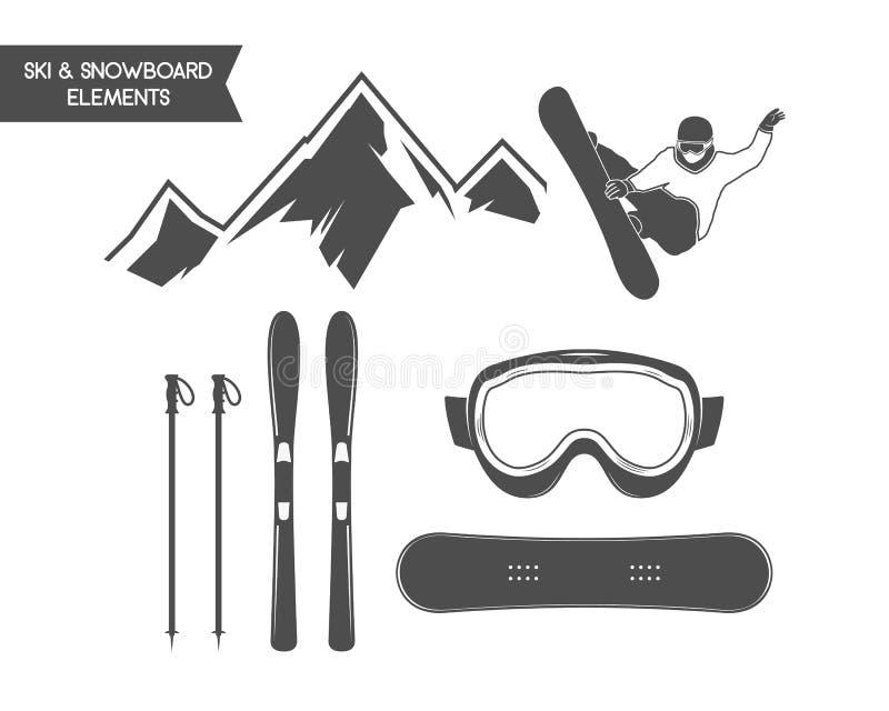 Elementos de los deportes de invierno Snowboard, símbolos del esquí stock de ilustración