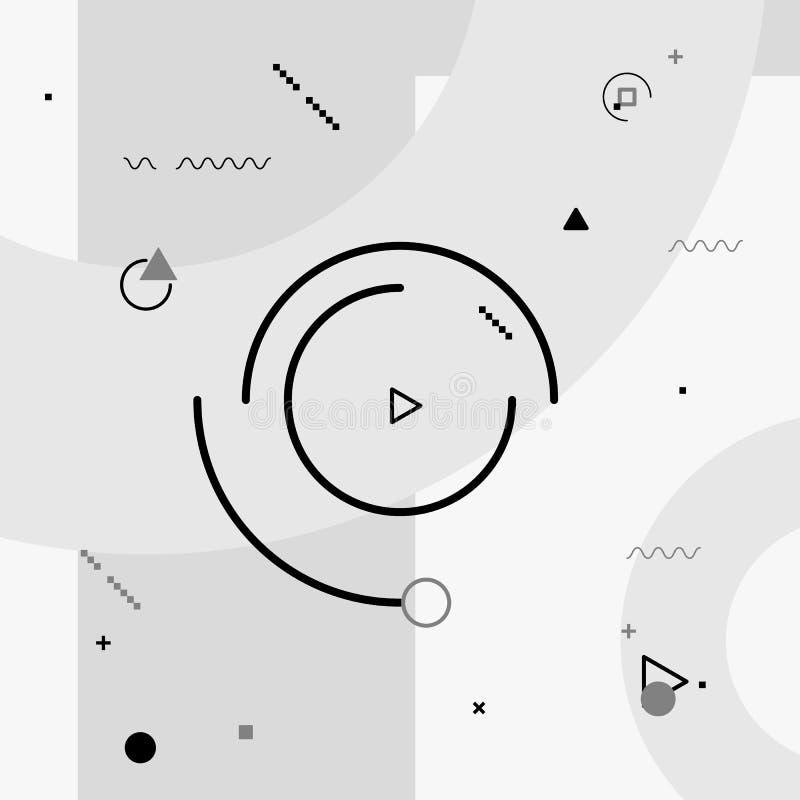 Elementos de los gráficos del movimiento Composición blanco y negro Fondo de la ilustración del vector Figuras geométricas stock de ilustración