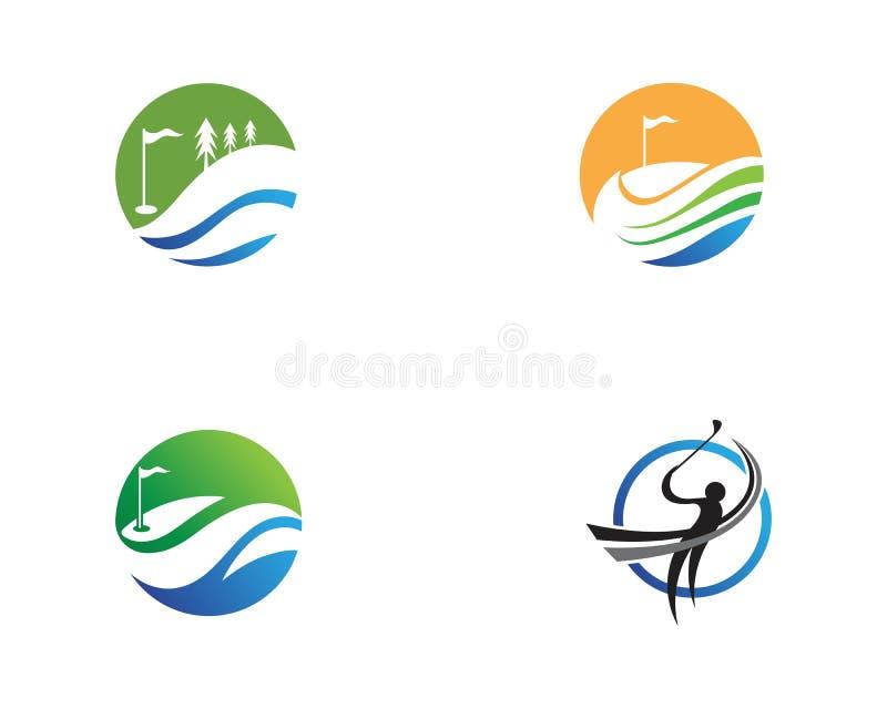 Elementos de los s?mbolos de los iconos del club de golf e im?genes del vector del logotipo libre illustration
