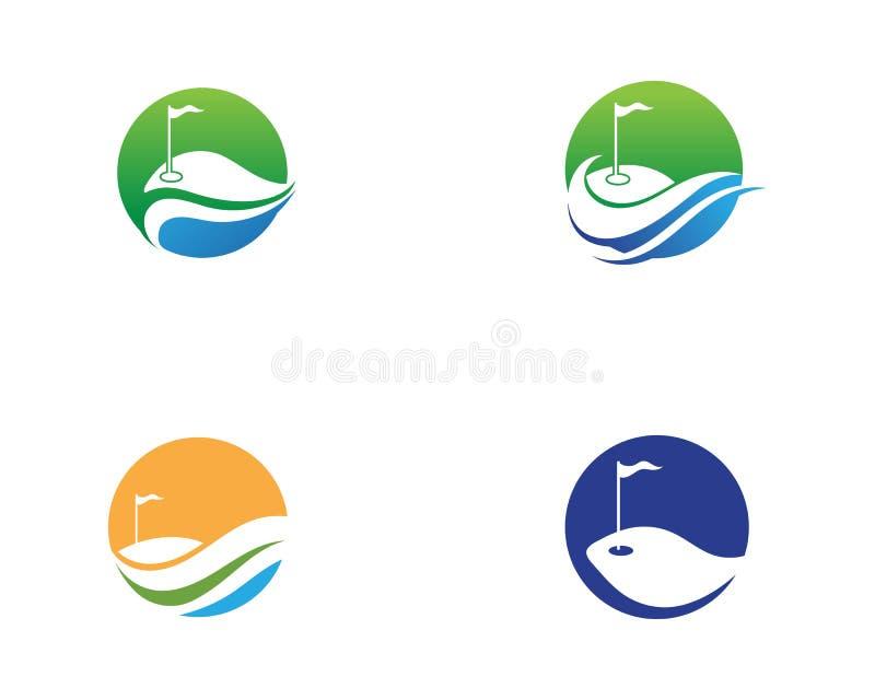 Elementos de los s?mbolos de los iconos del club de golf e im?genes del vector del logotipo ilustración del vector