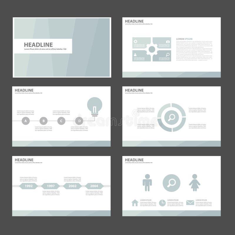 6 elementos de múltiplos propósitos azuis de Infographic e o projeto liso do molde da apresentação do ícone ajustaram-se anuncian ilustração do vetor