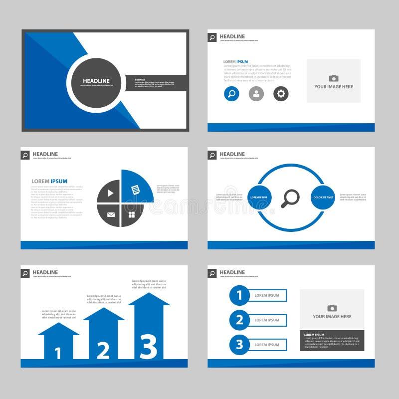 elementos de múltiplos propósitos pretos de Infographic do ฺBlue e flye ajustado do folheto do mercado da propaganda do projeto ilustração do vetor
