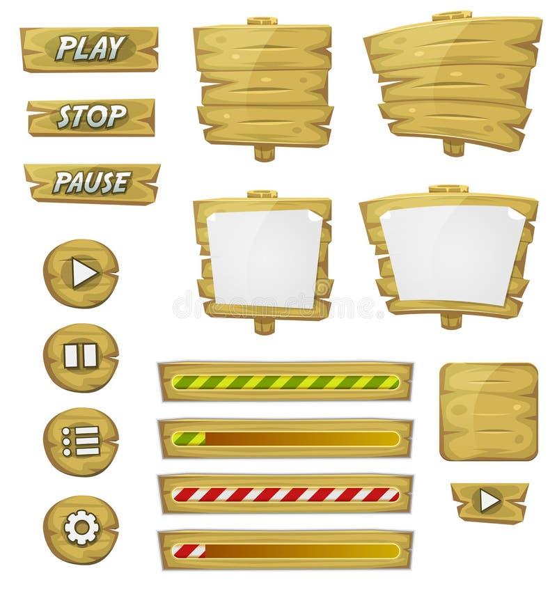 Elementos de madera de la historieta para el juego de Ui stock de ilustración