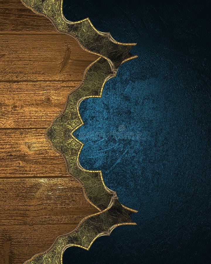 Elementos de madera del Grunge en textura azul Plantilla para el diseño y para el folleto del anuncio o la invitación del aviso stock de ilustración