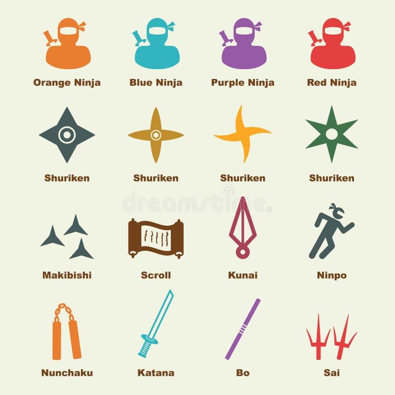 Elementos de Ninja ilustração stock