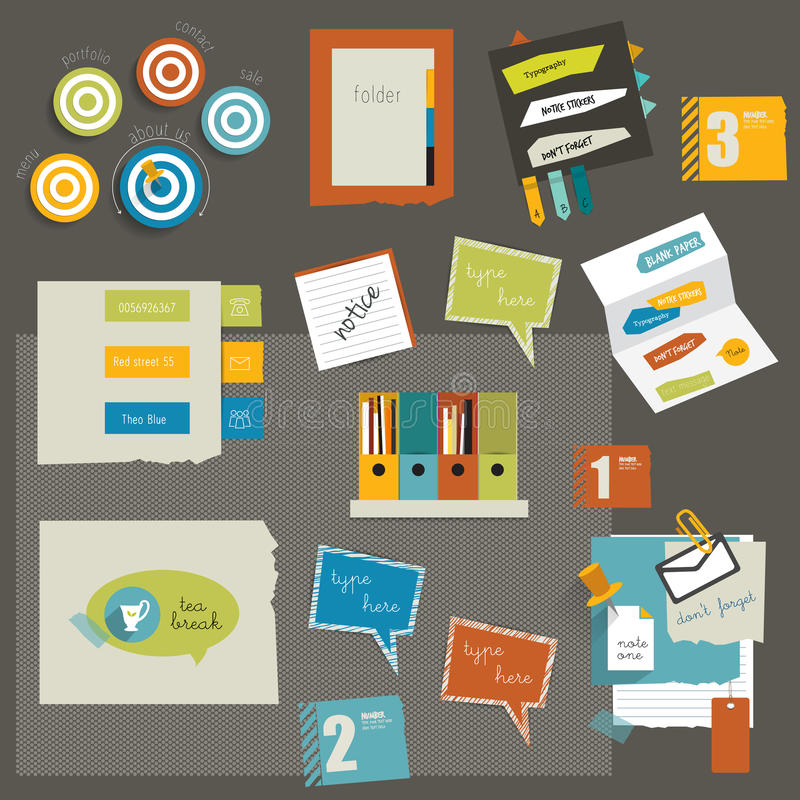 Elementos de papel de las etiquetas engomadas. ilustración del vector
