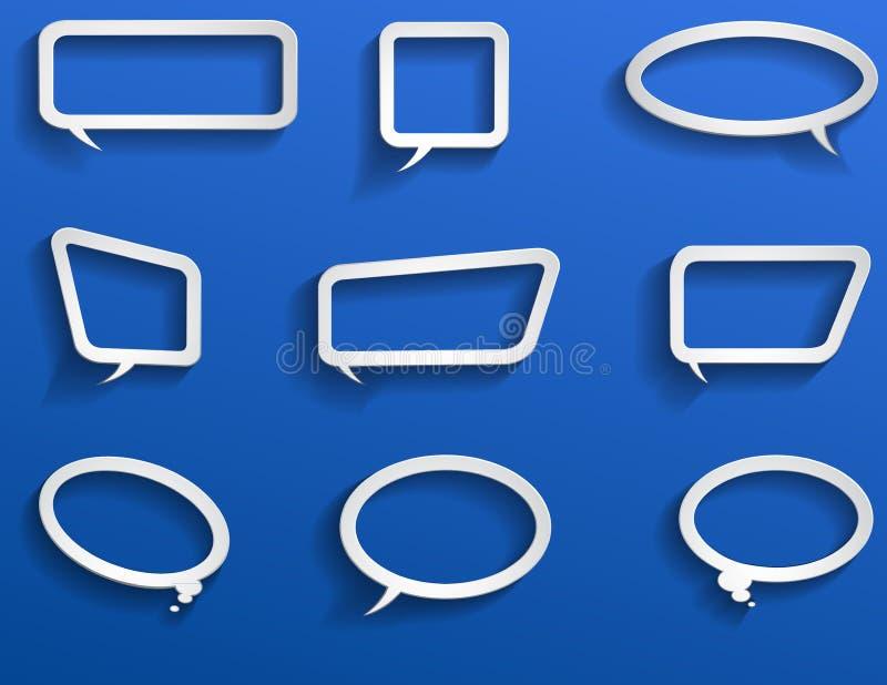 Elementos de papel do bate-papo no azul ilustração royalty free