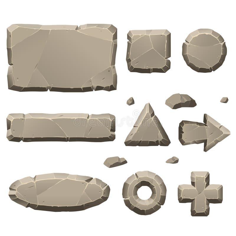 Elementos de pedra do projeto de jogo ilustração stock