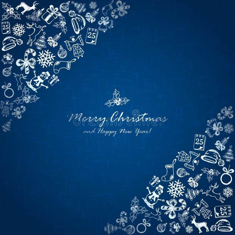 Elementos de plata de la Navidad en esquina en fondo azul ilustración del vector