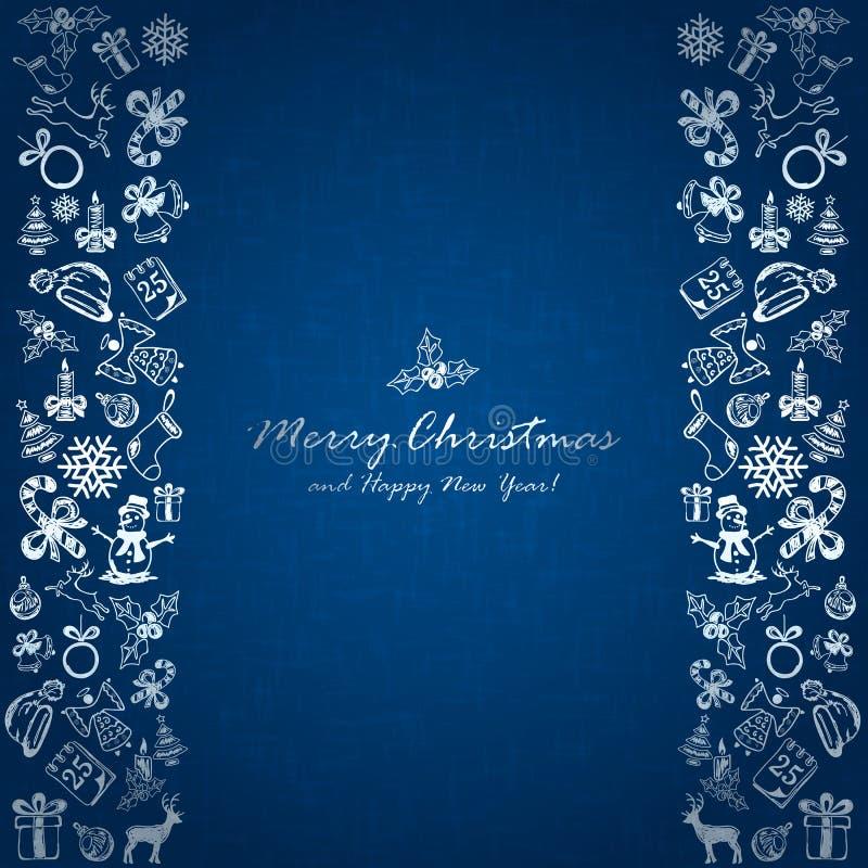 Elementos de prata do Natal no fundo azul ilustração royalty free