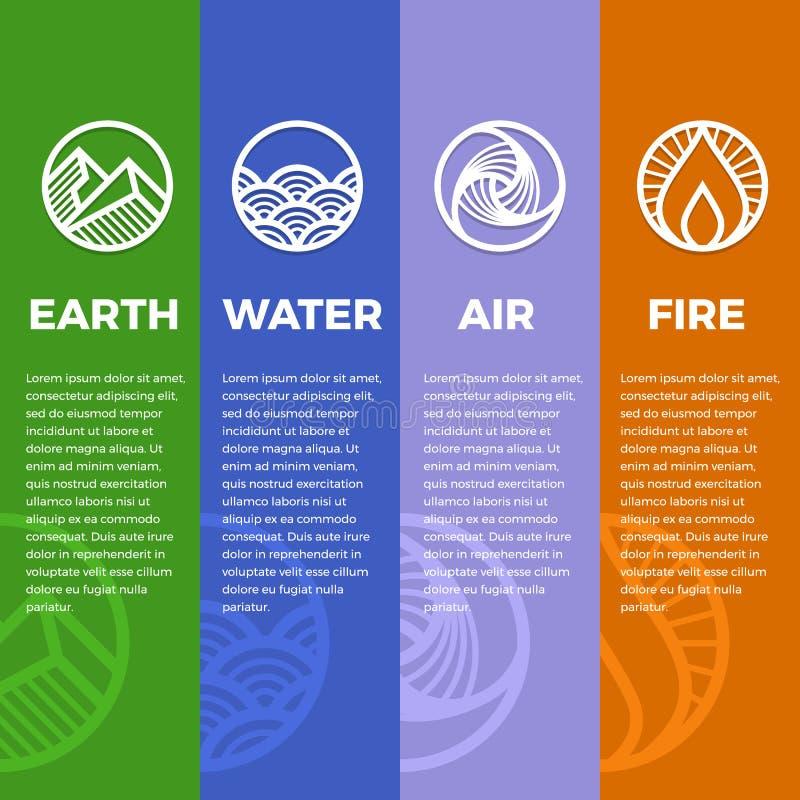 4 elementos de símbolos da natureza circundam a linha linha estilo afiado moderno do boder com o projeto do vetor da terra, do fo ilustração do vetor