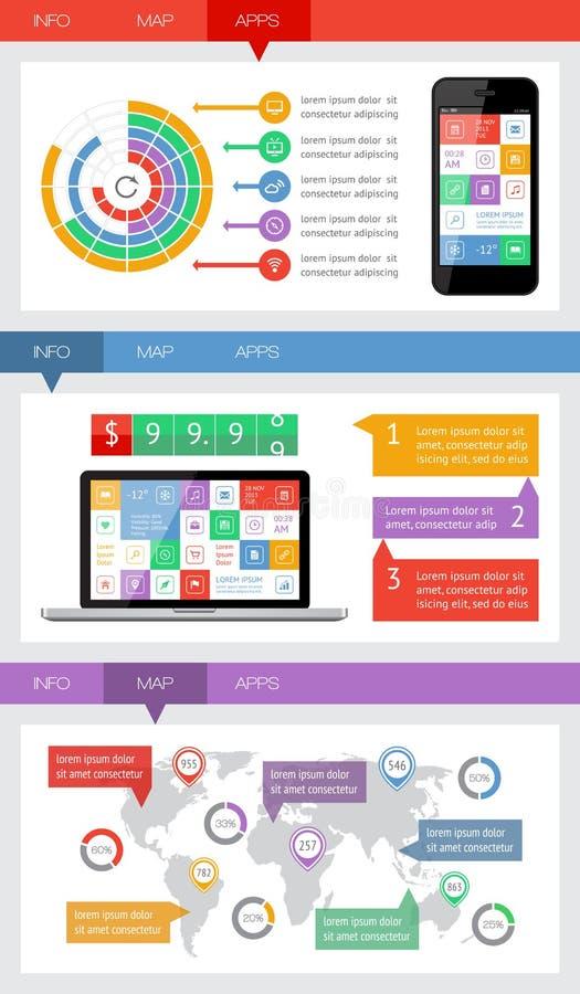 Elementos De Ui, De Infographics E De Web Que Incluem D Liso Fotografia de Stock