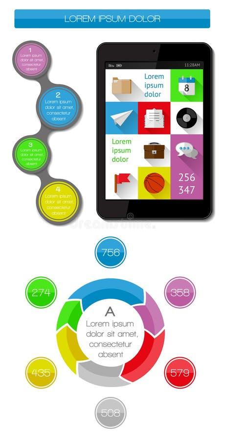 Elementos De Ui, De Infographics E De Web Que Incluem D Liso Fotografia de Stock Royalty Free