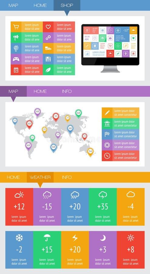 Elementos de Ui, de infographics e de Web que incluem o projeto liso