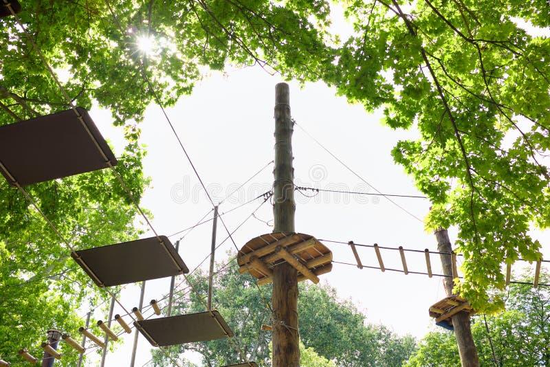 Elementos de un parque de la aventura con los rastros de la cuerda entre los árboles imagen de archivo