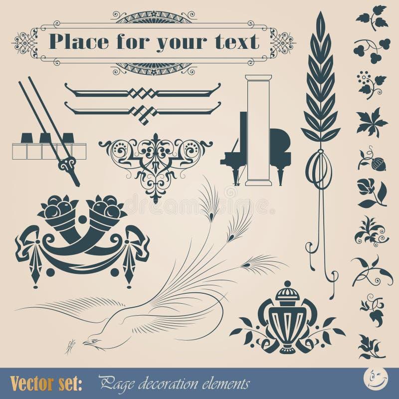 Elementos decorativos ilustração stock
