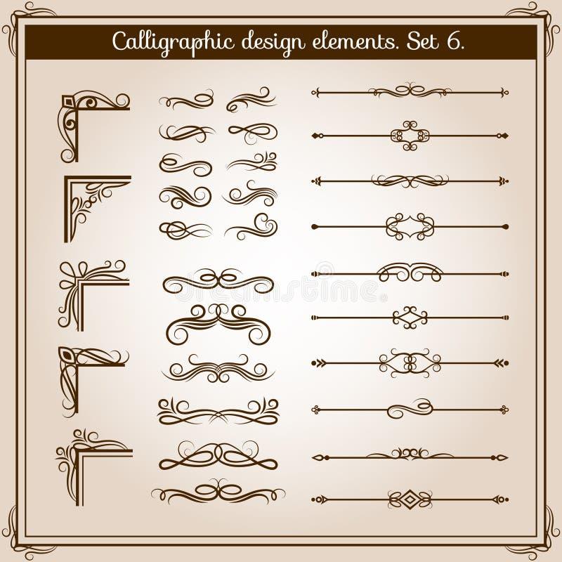 Elementos decorativos adornados del vector linear del vintage Línea retra divisores, esquinas y remolinos del flourish para la de stock de ilustración