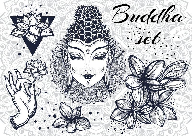 Elementos decorativos bonitos da cultura oriental Fundo redondo ornamentado do teste padrão da mandala Motivos budistas da arte A ilustração do vetor