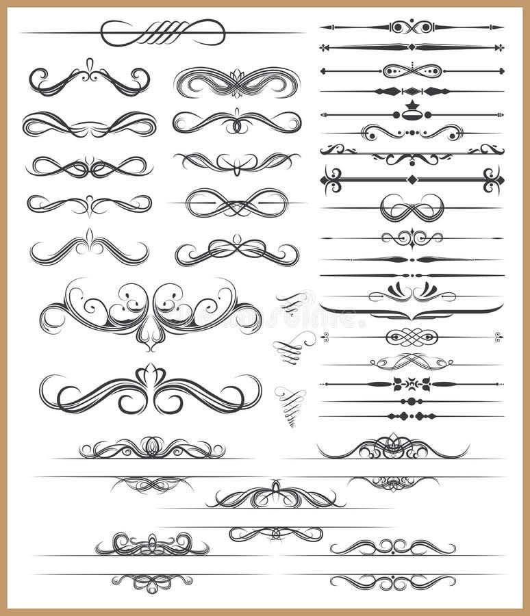 Elementos decorativos caligráficos stock de ilustración