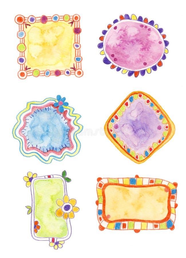 Elementos decorativos coloridos ilustração stock