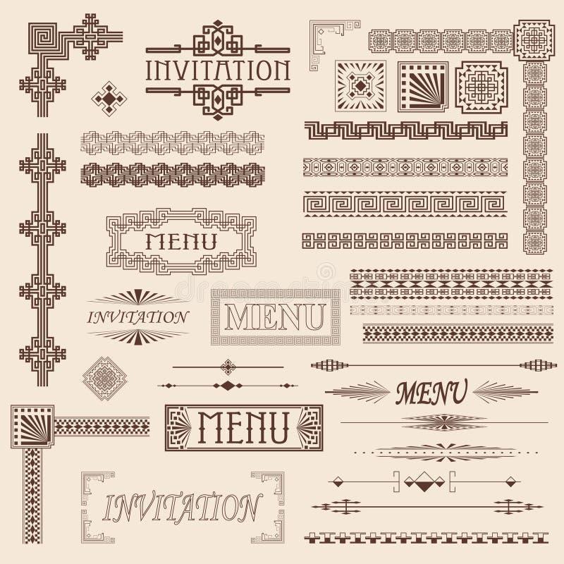 Elementos decorativos da beira ilustração royalty free