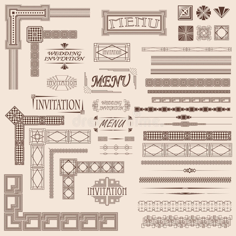 Elementos decorativos da beira ilustração stock